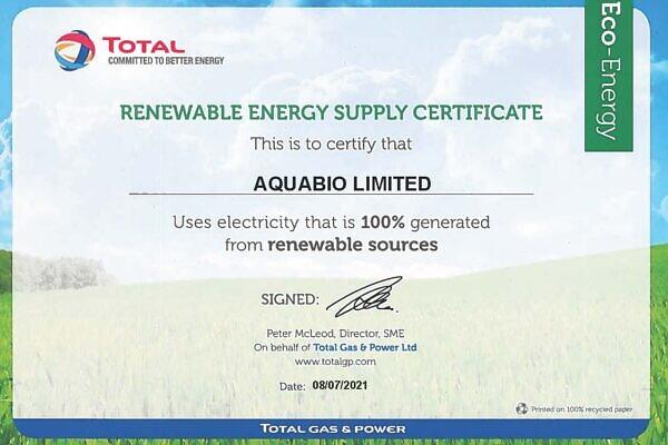 AQUABIO LIMITED Eco Certificate